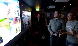 Games Room with huge interactive wall projections at inamo Soho